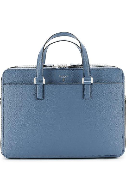 Купить Кожаная сумка для ноутбука с двумя отделениями на молнии Serapian, SEV0EMLL6871M38A, Италия, Голубой, Кожа натуральная: 100%;