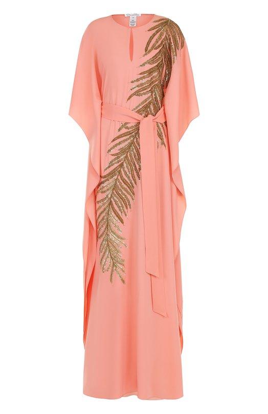 Купить Шелковое платье-макси с поясом и контрастной вышивкой Oscar de la Renta, 18RE9062SSG, Индия, Коралловый, Шелк: 95%; Лайкра: 5%;