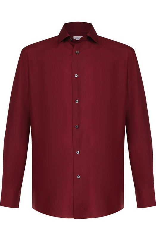 Купить Шелковая сорочка с воротником кент Brioni, SCBQ0L/P7444, Италия, Бордовый, Шелк: 100%;