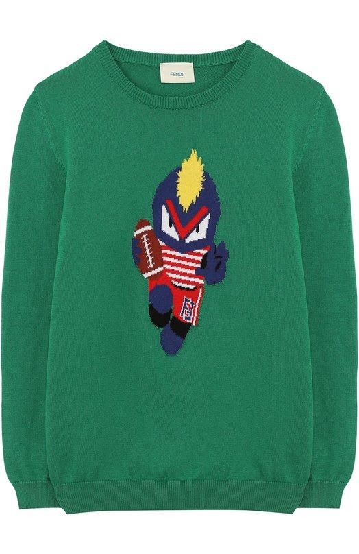 Хлопковый пуловер с принтом Fendi