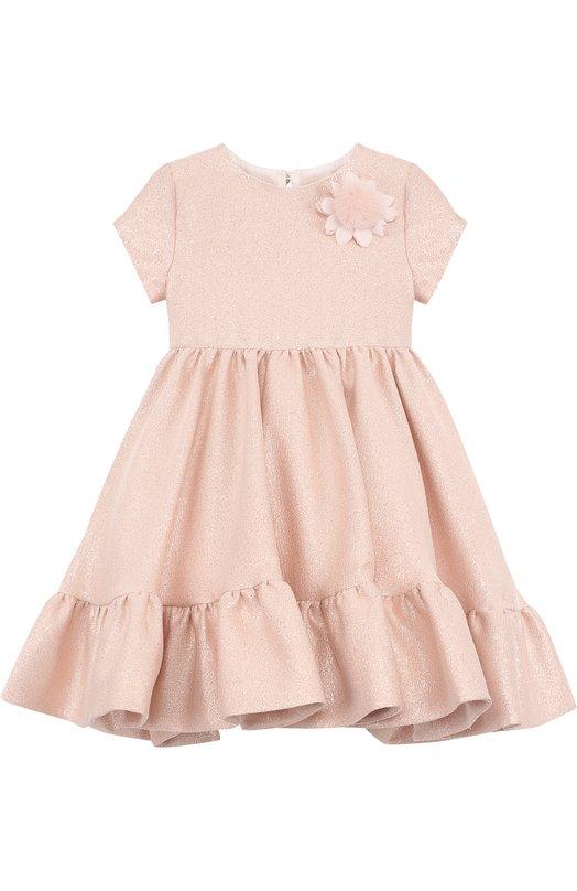 Купить Платье с металлизированной отделкой и брошью Fendi, JFB147/A19L/2A-5A, Италия, Розовый, Хлопок: 54%; Полиэстер: 46%; Подкладка-хлопок: 100%;