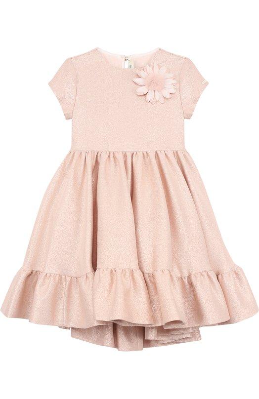 Купить Платье с металлизированной отделкой и брошью Fendi, JFB147/A19L/6A-8A, Италия, Розовый, Хлопок: 54%; Полиэстер: 46%; Подкладка-хлопок: 100%;
