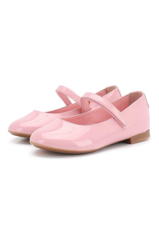 Купить Лаковые балетки с застежками велькро Dolce & Gabbana, D10699/A1328/24-28, Италия, Светло-розовый, Кожа натуральная: 100%; Стелька-кожа: 100%; Подошва-резина: 100%;