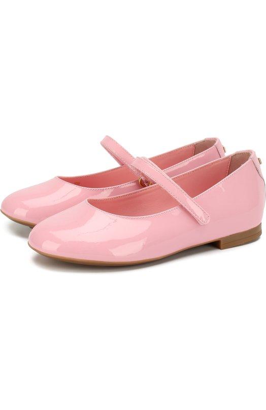 Купить Лаковые балетки с застежками велькро Dolce & Gabbana, D10699/A1328/29-36, Италия, Светло-розовый, Кожа натуральная: 100%; Стелька-кожа: 100%; Подошва-резина: 100%;