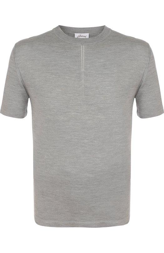 Купить Шелковая футболка с круглым вырезом Brioni, UMR00L/P7K01, Италия, Светло-серый, Шелк: 100%;