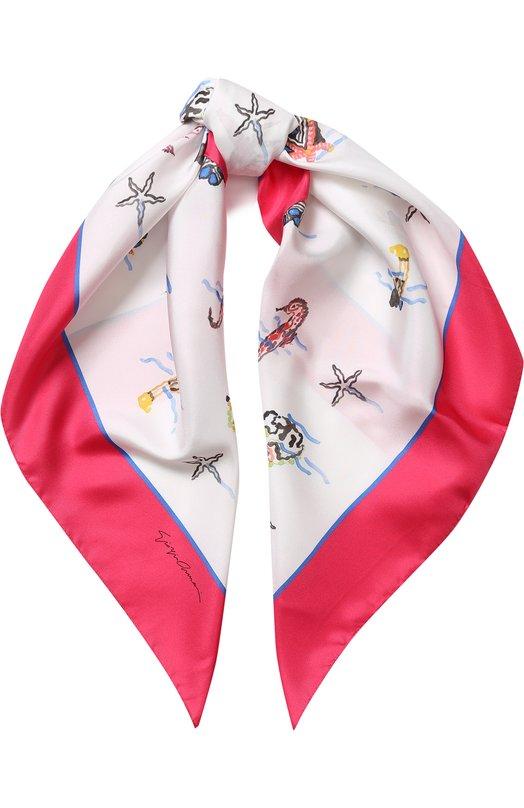 Купить Шелковый платок с принтом Giorgio Armani, 795308/8P128, Италия, Разноцветный, Шелк: 100%;