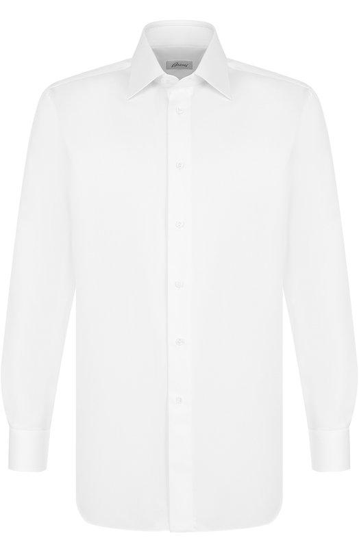 Купить Хлопковая сорочка с воротником кент Brioni, RCL98K/PZ003, Италия, Белый, Хлопок: 100%;