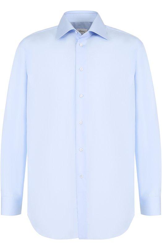 Купить Хлопковая сорочка с воротником кент Brioni, RCL996/PZ024, Италия, Голубой, Хлопок: 100%;