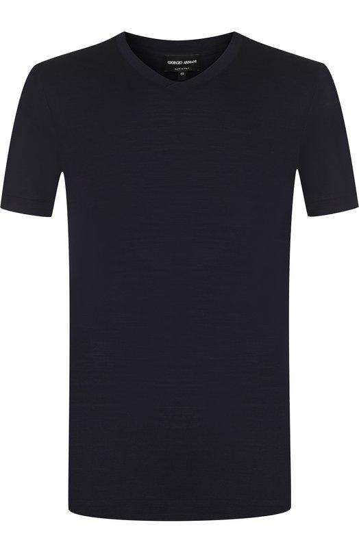 Купить Шерстяная футболка с V-образным вырезом Giorgio Armani, 3ZSM56/SJSFZ, Италия, Темно-синий, Шерсть овечья: 100%;