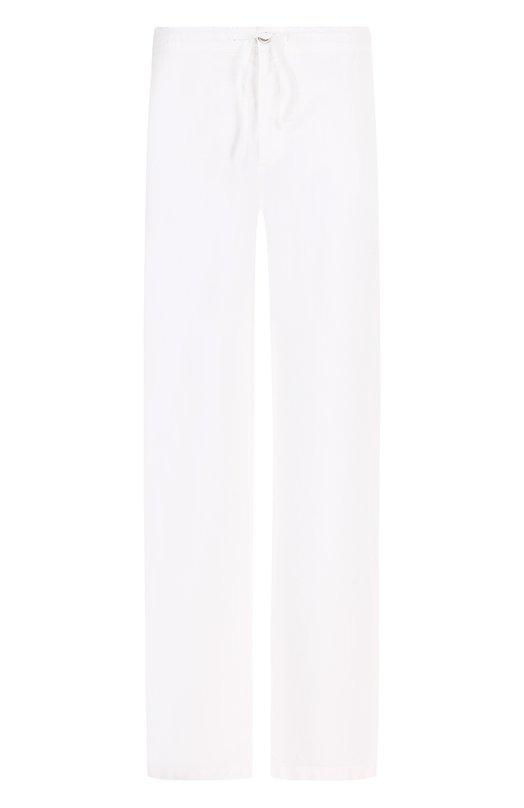 Купить Льняные брюки прямого кроя с поясом на кулиске 120% Lino, N0M2072/0253/001, Болгария, Белый, Лен: 100%;