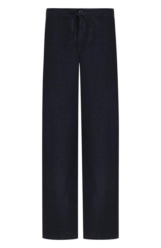 Купить Льняные брюки прямого кроя с поясом на кулиске 120% Lino, N0M2072/0253/001, Болгария, Темно-синий, Лен: 100%;