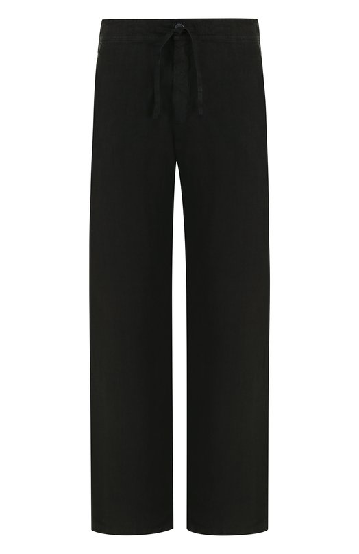 Купить Льняные брюки прямого кроя с поясом на кулиске 120% Lino, N0M2072/0253/001, Болгария, Черный, Лен: 100%;