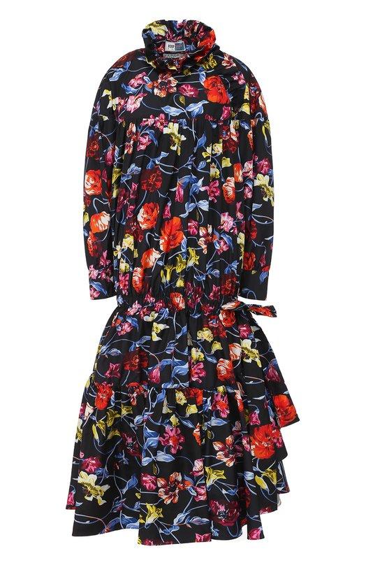 Купить Приталенное платье-миди с ярким принтом Kenzo, F761R00175A1, Тунис, Разноцветный, Полиэстер: 100%;