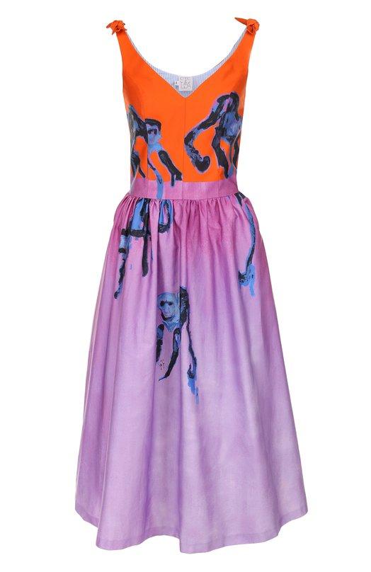 Купить Приталенное хлопковое платье-миди с принтом Stella Jean, J V 060 00 T 9435, Италия, Разноцветный, Хлопок: 100%; Подкладка-хлопок: 100%;