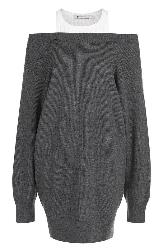 Купить Шерстяное мини-платье с длинным рукавом и открытыми плечами T by Alexander Wang, 4K486018N3, Китай, Серый, Шерсть: 97%; Полиамид: 2%; Отделка-хлопок: 100%; Эластан: 1%;