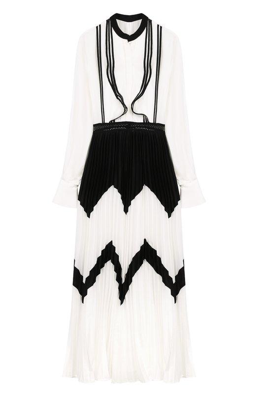 Купить Платье-миди с плиссированной юбкой и длинным рукавом self-portrait, SP16-059, Китай, Черно-белый, Полиэстер: 94%; Эластан: 6%; Подкладка-полиэстер: 100%;