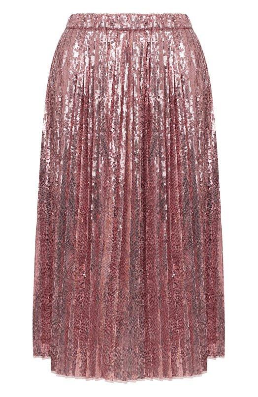 Купить Плиссированная юбка-миди с пайетками No. 21, 18E N2M0/C132/4742, Италия, Розовый, Подкладка-шелк: 100%; Полиэстер: 100%;