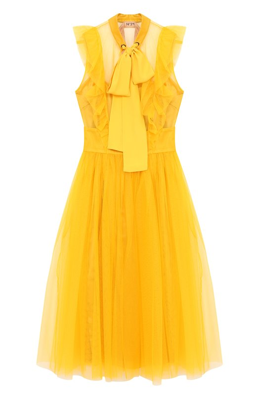 Купить Приталенное платье-миди с воротником-стойкой No. 21, 18E N2M0/H212/5043, Италия, Желтый, Полиамид: 100%;