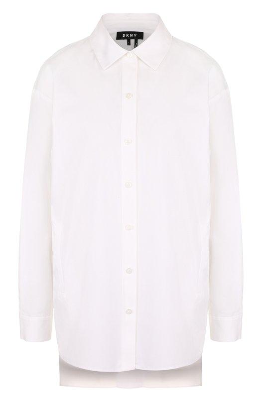 Купить Однотонная хлопковая блуза свободного кроя DKNY, W3271BAA, Китай, Белый, Хлопок: 100%;
