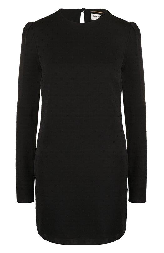 Купить Однотонное шелковое мини-платье с длинным рукавом Saint Laurent, 504092/Y067S, Франция, Черный, Шелк: 100%; Подкладка-шелк: 100%;