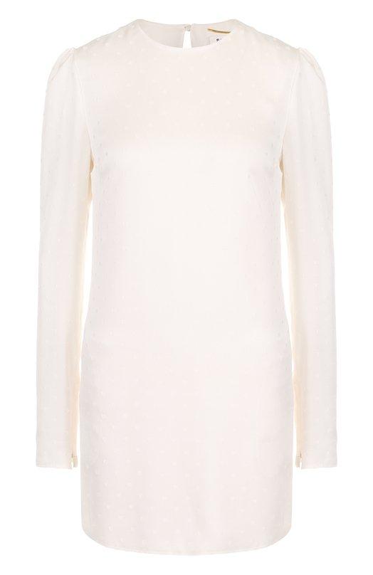 Купить Однотонное шелковое мини-платье с длинным рукавом Saint Laurent, 504092/Y067S, Франция, Белый, Шелк: 100%; Подкладка-шелк: 100%;