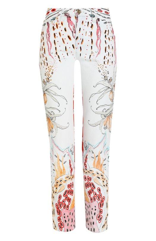 Купить Укороченные джинсы прямого кроя с принтом Roberto Cavalli, GQJ236/DZG77, Италия, Разноцветный, Хлопок: 100%;
