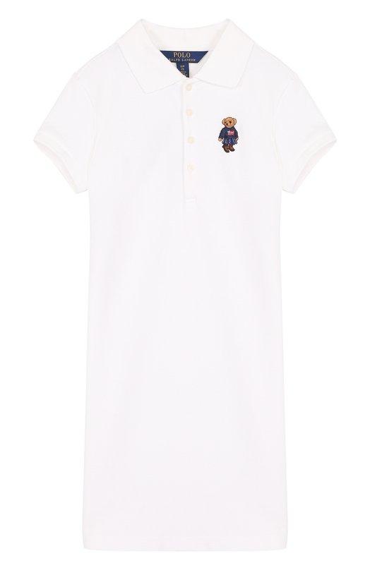 Купить Хлопковое мини-платье прямого кроя с вышивкой Polo Ralph Lauren, 313687558, Китай, Белый, Хлопок: 98%; Эластан: 2%;