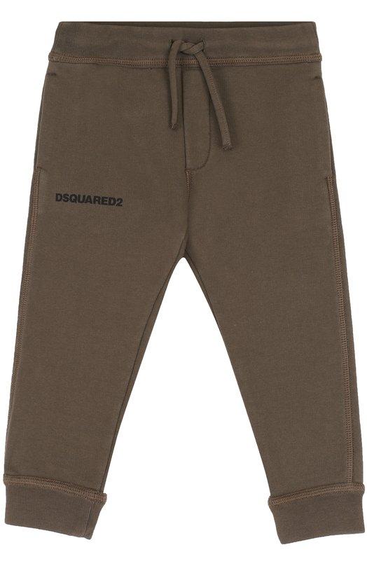 Купить Хлопковые джоггеры с логотипом бренда Dsquared2, DQ02N7-D00RG, Италия, Хаки, Хлопок: 100%;