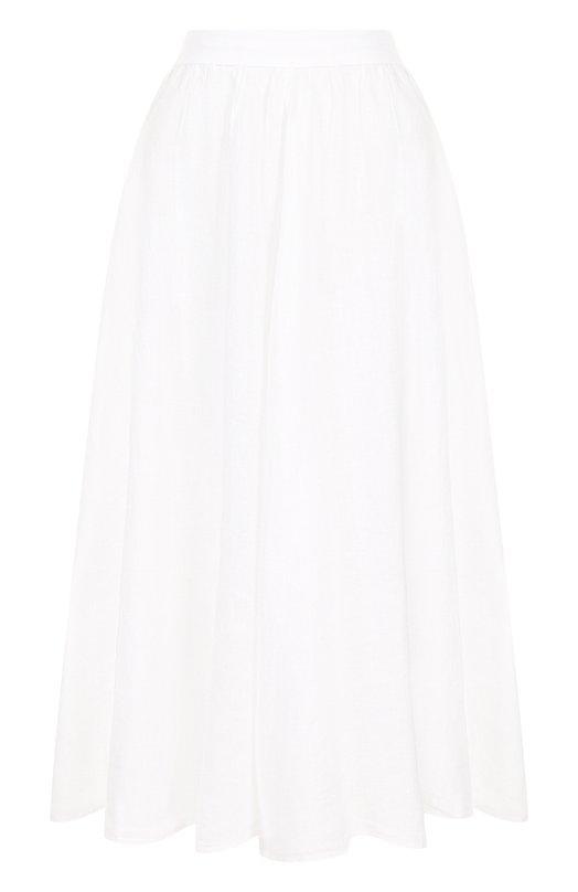 Купить Однотонная льняная юбка-миди 120% Lino, N0W5099/B317/000, Болгария, Белый, Лен: 100%;