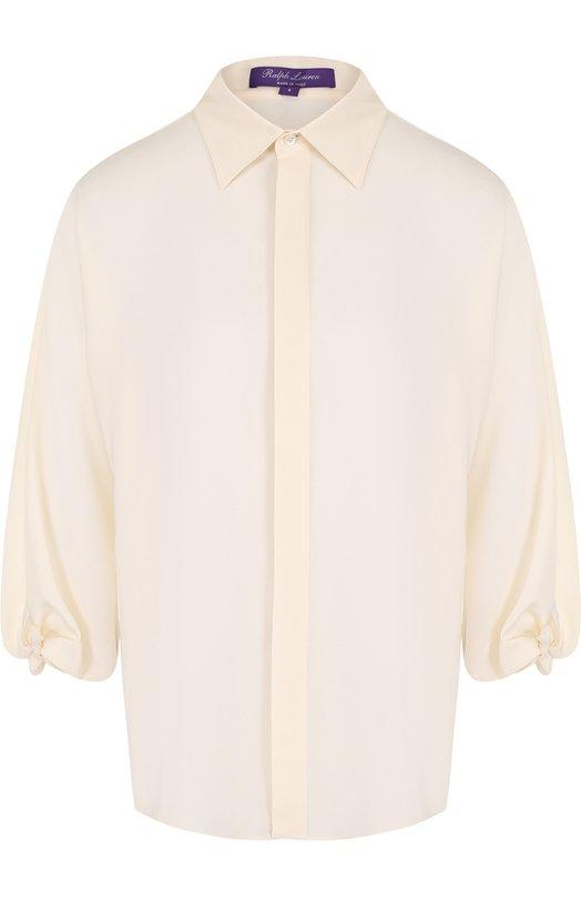 Купить Однотонная шелковая блуза свободного кроя Ralph Lauren, 290698304, Италия, Кремовый, Шелк: 100%;