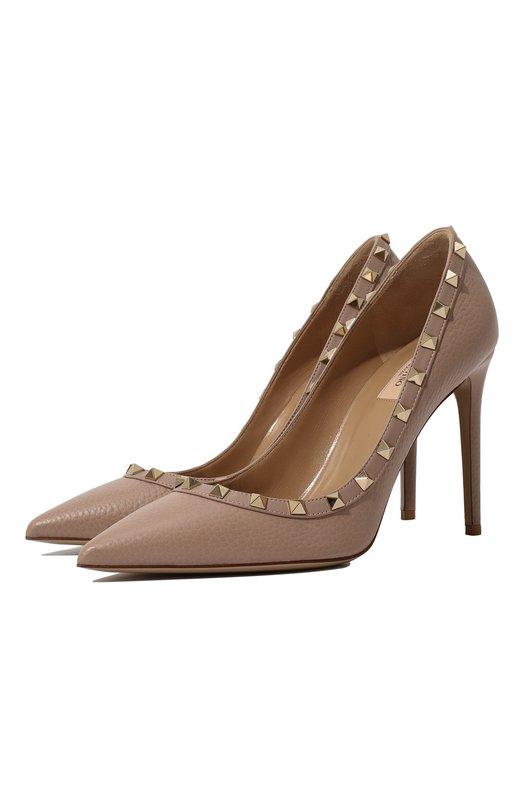 Купить Кожаные туфли Valentino Garavani Rockstud на шпильке Valentino, PW2S0057/VCE, Италия, Бежевый, Кожа натуральная: 100%; Стелька-кожа: 100%; Подошва-кожа: 100%;