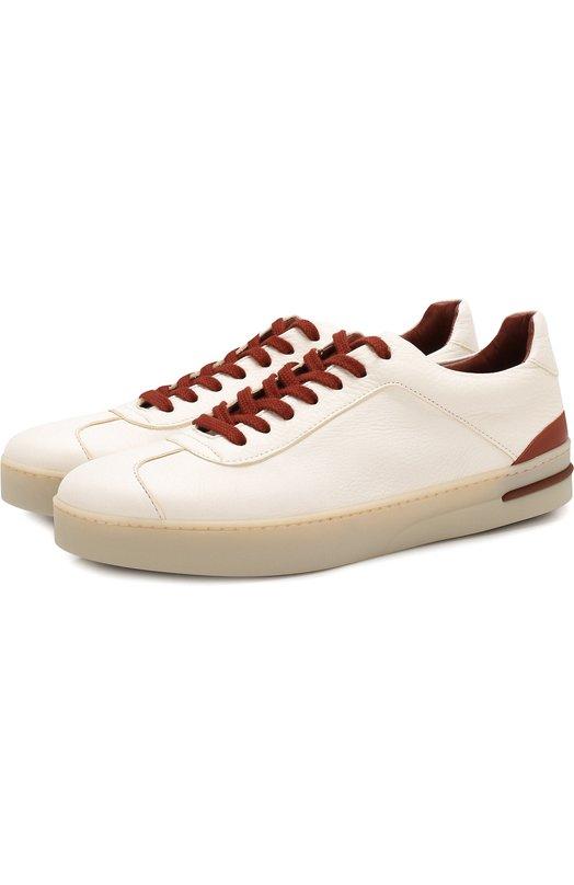 Кожаные кроссовки 70'S Lady Walk с контрастной отделкой Loro Piana