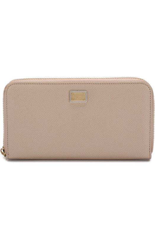 Купить Кожаный кошелек на молнии с логотипом бренда Dolce & Gabbana, BI0473/A1001, Италия, Светло-бежевый, Кожа натуральная: 100%;