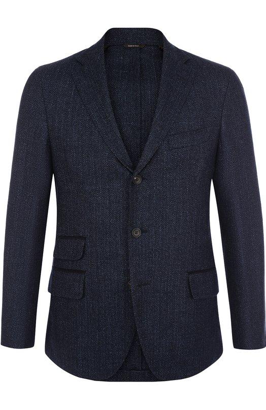Купить Однобортный пиджак из смеси шерсти и льна с шелком Loro Piana, FAG3476, Италия, Темно-синий, Шерсть: 76%; Лен: 12%; Шелк: 12%; Отделка замша натуральная: 100%;