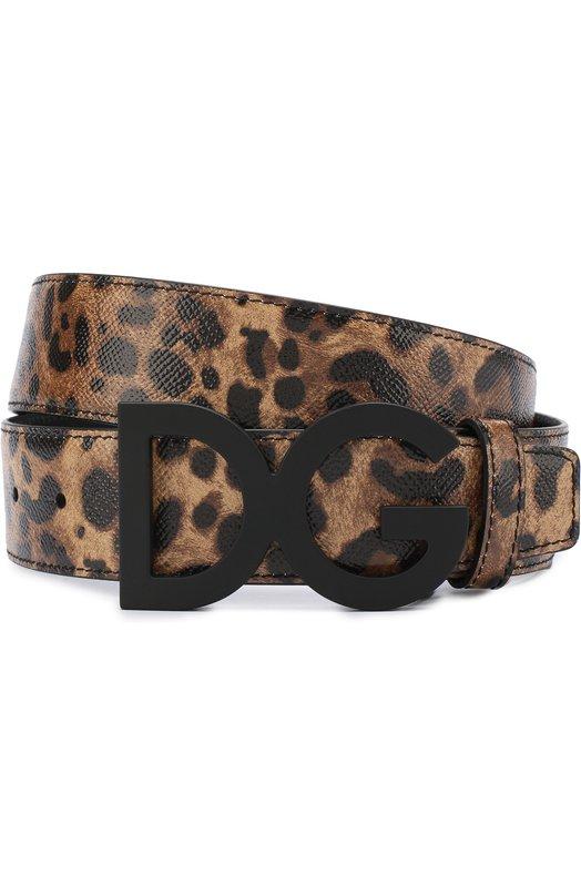 Купить Кожаный ремень с фигурной пряжкой Dolce & Gabbana, BC4190/AI892, Италия, Коричневый, Кожа натуральная: 100%; Пряжка-мет.сплав: 100%;