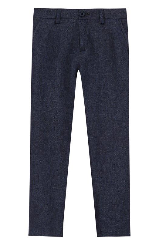 Купить Льняные брюки прямого кроя Dal Lago, N110D/8438/3-6, Италия, Синий, Лен: 100%;