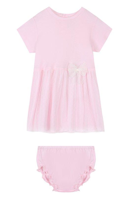 Купить Хлопковый комплект из платья и трусов Aletta, RB88383/1M-18M, Италия, Розовый, Хлопок: 100%; Отделка-полиамид: 100%;