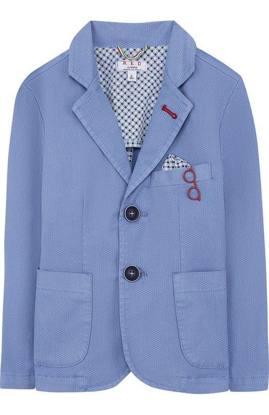 Купить Однобортный пиджак из хлопка с платком и декором Aletta, N88129T/4A-8A, Италия, Голубой, Хлопок: 97%; Эластан: 3%;