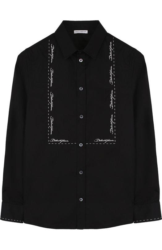 Хлопковая рубашка с контрастной вышивкой Dolce & Gabbana
