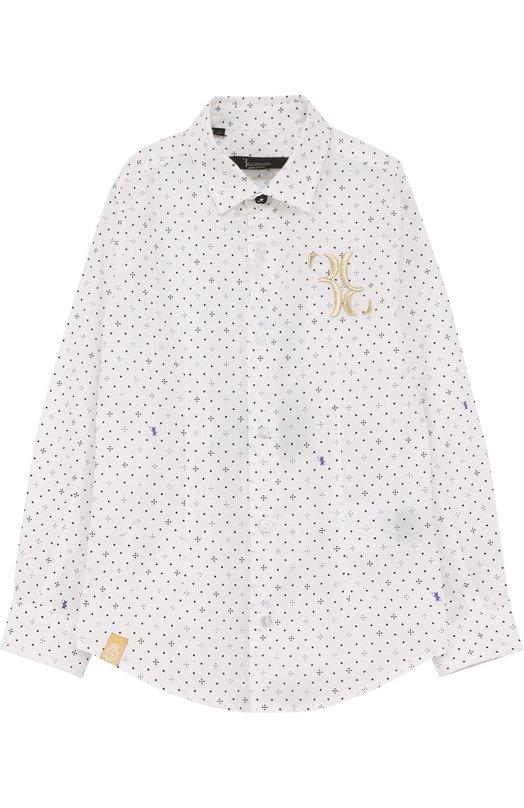 Купить Хлопковая рубашка с принтом и вышивкой Billionaire, B18C BRP_0032 BTE032N/4-10, Италия, Белый, Хлопок: 97%; Эластан: 3%;