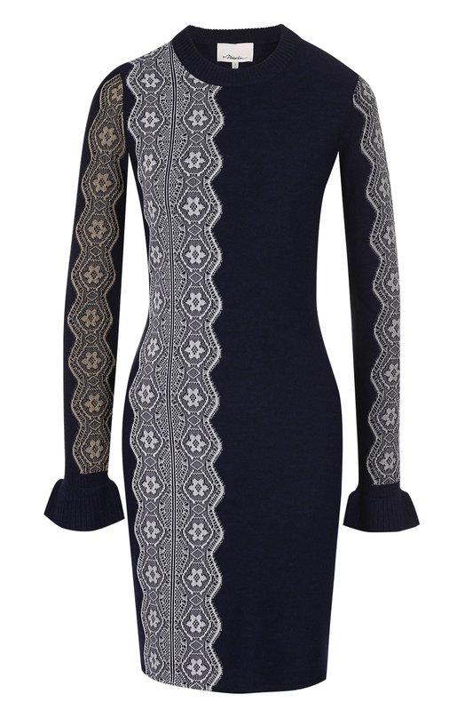 Купить Вязаное мини-платье с длинным рукавом и кружевной отделкой 3.1 Phillip Lim, H171-7903MIL, Китай, Темно-синий, Шерсть: 95%; Вискоза: 3%; Полиэстер: 1%; Металлизированное волокно: 1%;