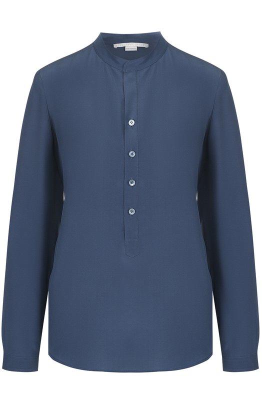 Купить Прямая шелковая блуза с воротником-стойкой Stella McCartney, 358313/SY206, Венгрия, Темно-синий, Шелк: 100%;