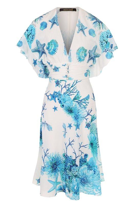 Купить Шелковое платье-миди с принтом и V-образным вырезом Roberto Cavalli, GQT118/SQ201, Италия, Голубой, Шелк: 100%; Подкладка-шелк: 100%;
