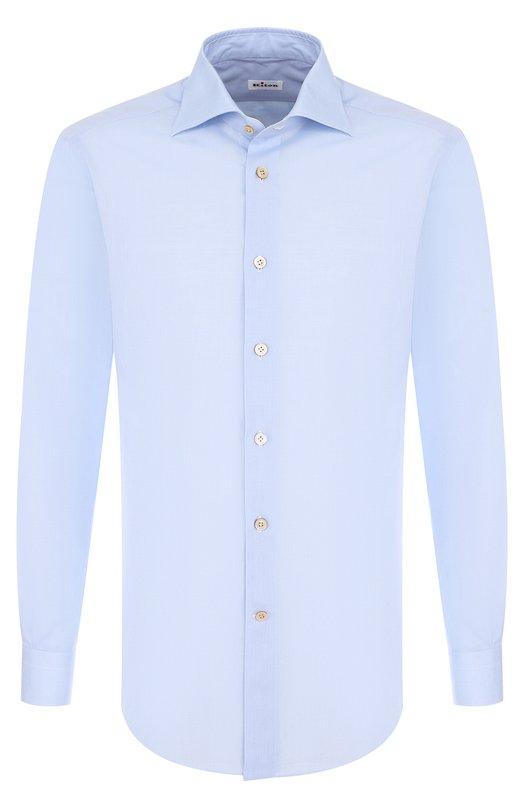 Купить Хлопковая сорочка с воротником акула Kiton, UCIH000340200B, Италия, Голубой, Хлопок: 100%;