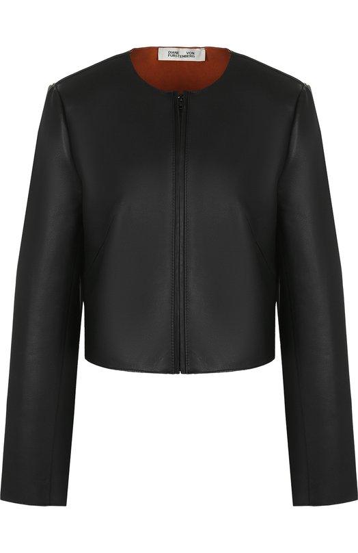 Купить Укороченная кожаная куртка с круглым вырезом Diane Von Furstenberg, 11312DVF, Индия, Черный, Кожа натуральная: 100%;