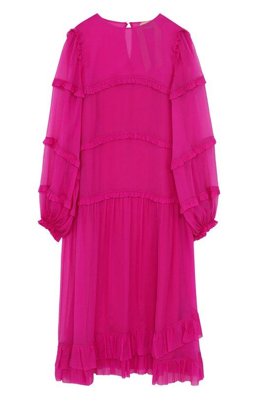 Купить Однотонное шелковое платье-миди с оборками No. 21, 18E N2M0/H291/5566, Италия, Малиновый, Шелк: 100%;