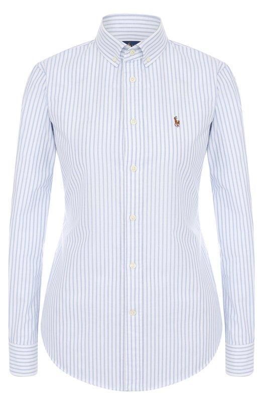 Купить Приталенная хлопковая блуза в полоску Polo Ralph Lauren, 211642479, Шри-Ланка, Голубой, Хлопок: 100%;