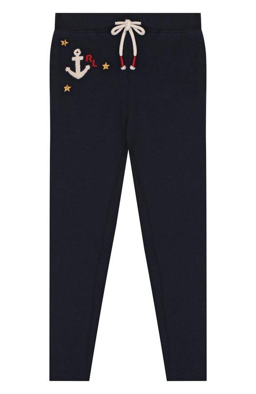 Купить Спортивные брюки с вышивкой на кулиске Polo Ralph Lauren, 313680237, Индия, Синий, Хлопок: 72%; Полиэстер: 18%; Вискоза: 10%;