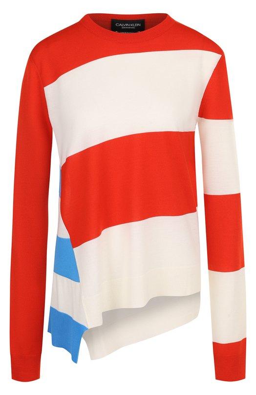 Шерстяной пуловер свободного кроя с круглым вырезом CALVIN KLEIN 205W39NYC