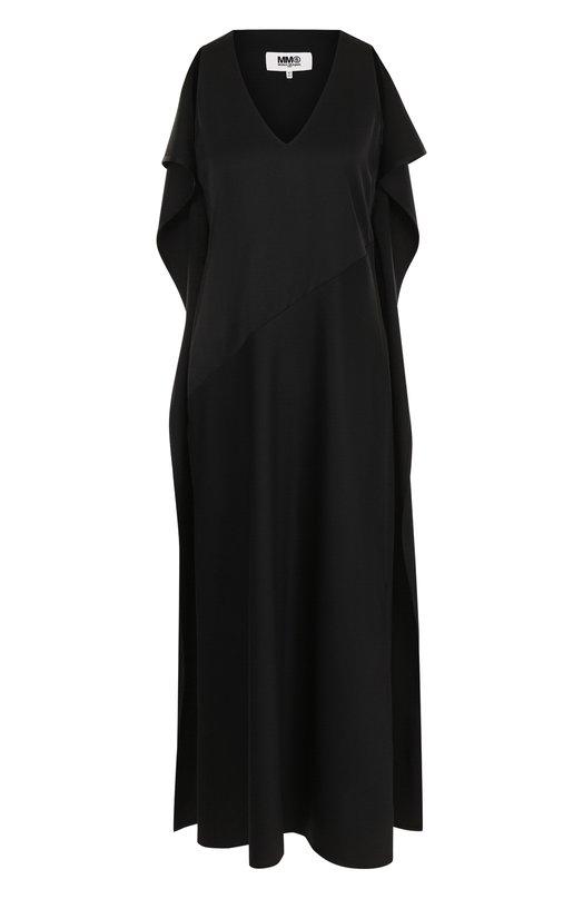 Купить Однотонное платье-миди с V-образным вырезом Mm6, S52CT0317/S47848, Италия, Черный, Полиэстер: 54%; Шерсть овечья: 44%; Эластан: 2%;